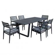 Garden4You puutarharyhmä Phoenix pöytä ja 6 tuolia alumiinirunko harmaa