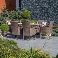 Garden4You ruokailuryhmä Paloma pöytä + 6 tuolia teräsrunko harmaa/rusk
