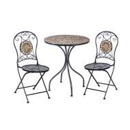 Garden4You bistro-setti Mosaic pöytä + 2 tuolia musta/kupari