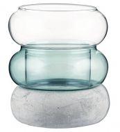 Muurla Rinkeli kynttilälyhty/maljakko sinivihreä 12 cm