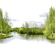 Vallila Joki kappaverho 60x250 cm vihreä