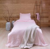Create Home Pellava pussilakanasetti 150x210+55x65 roosa