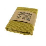 Iris Hantverk tiski-/siivousliina pellava ja luomupuuvilla Golden Green
