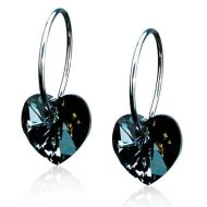 Blomdahl Ring 14mm Heart 10mm, Black Diamond korvakorut